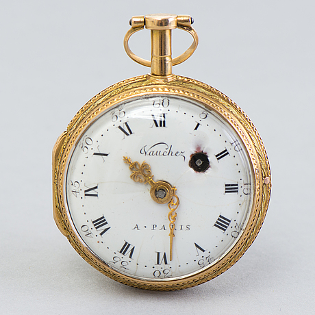 Pocket watch, gold, not hallmarked, vaucher a paris late 18th century/early 19th century.