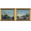 Unknown artist a pair of early 19th century decorative countryside landscapes