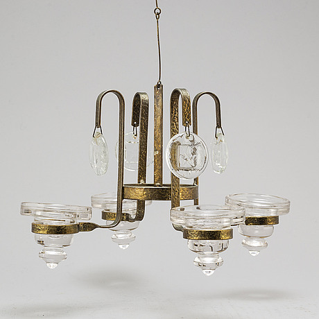 Bertil vallien and erik hÖglund, a chandelier and a pair of candelsticks from boda smide