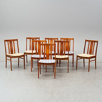 Eight second half of the 20th century teak chairs.