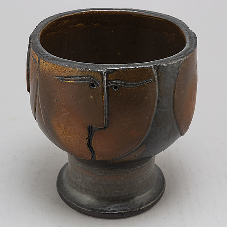 Lisa larson, a unique stoneware vase, signed and dated lisa l  76