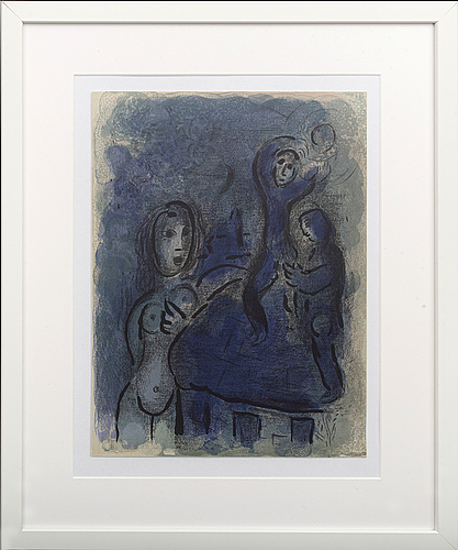Marc chagall, colour lithographe, unsigned, from verve vol x, no 37 38 1960