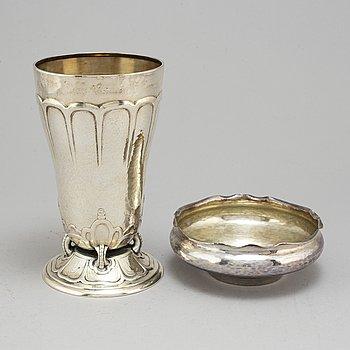 EMIL OSKAR MÖLLER, a silver vase and bowl, 1913 and 1920, Malmö.