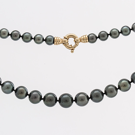Pearl necklace tahitian pearls 8 11,5 mm, clasp in 14k gold, length approx 46 cm