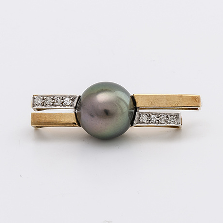 Pendant 18k gold and whitegold 1 tahitian pearl approx 12 mm and brilliant cut diamonds approx 0,20 ct in total