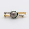 Pendant 18k gold and whitegold 1 tahitian pearl approx 12 mm and brilliant-cut diamonds approx 0,20 ct in total.