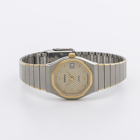 Rado ladies wristwatch, stainless steel and gold, 21 mm, quartz, date.
