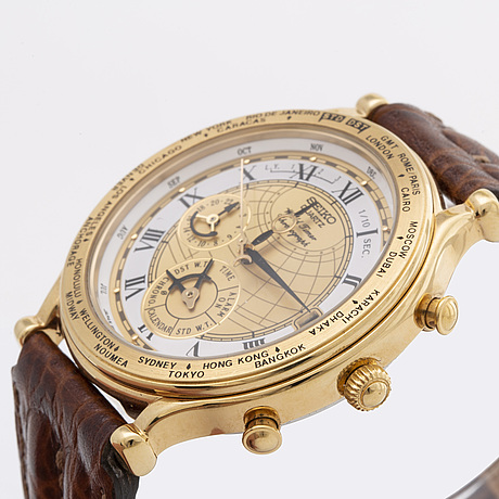 Seiko quartz world time chronograph, 39 mm, stainless steel and plated