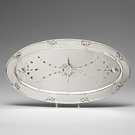 Georg jensen, an 830/1000 silver fish serving platter, copenhagen 1918, swedish import marks, design nr 206.