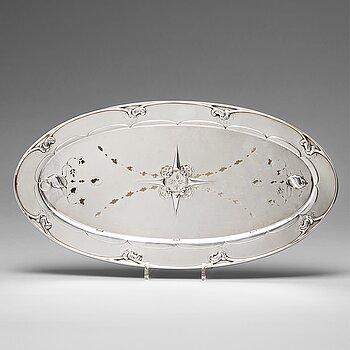 149. Georg Jensen, an 830/1000 silver fish serving platter, Copenhagen 1918, Swedish import marks, design nr 206.