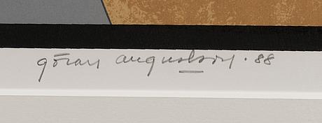 GÖran augustson, serigrafia, signeerattu ja päivätty -88, numeroitu 25/100.