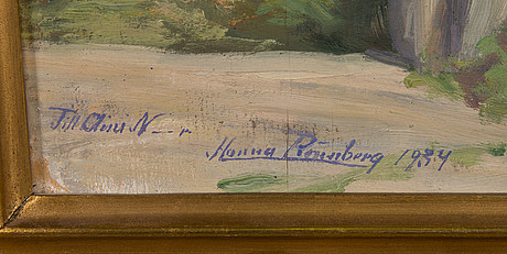 Hanna rÖnnberg, oil on veneer, signed and dated 1934. with dedication