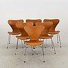 """A set of 6 arne jacobsen """"series 7"""" chairs, fritz hansen, denmark"""