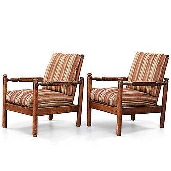 """250. Axel Einar Hjorth, a pair of stained pine """"Sandhamn"""" lounge chairs, Nordiska Kompaniet, Sweden 1929."""