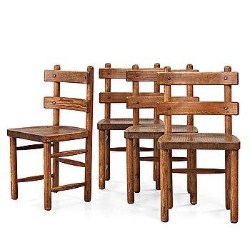 """252. Axel Einar Hjorth, a set of four stained pine """"Sandhamn"""" chairs, Nordiska Kompaniet, Sweden 1929."""