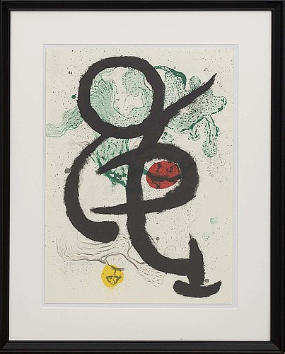 Joan mirÓ, colour lithographe, unsigned, from derrière le miroir nr 139 140 1963