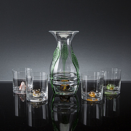 Ernst billgren, four glasses and a vase, for kosta boda sweden, about 2000