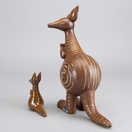 A stoneware figurine, in two parts,  by lisa larson, gustavsberg 1966 1979