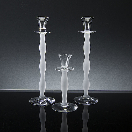 """2+1 pcs of glass candle lights """"celeste"""", by anne nilsson, orrefors, late 20th century"""