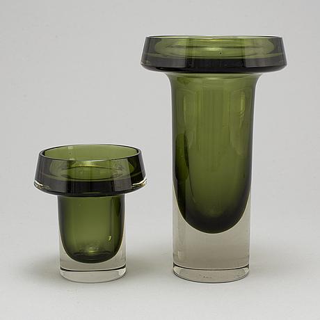 Kaj franck, two glass vases from nuutajärvi notsjö, finland, dated  60