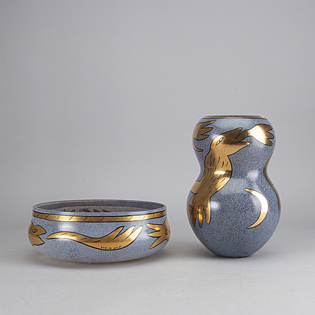 An ulrica hydman vallien vase and bowl, glass, signed kosta boda artist collection