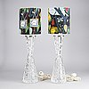 Carl fagerlund, a pair of glass table lamps, orrefors 1477