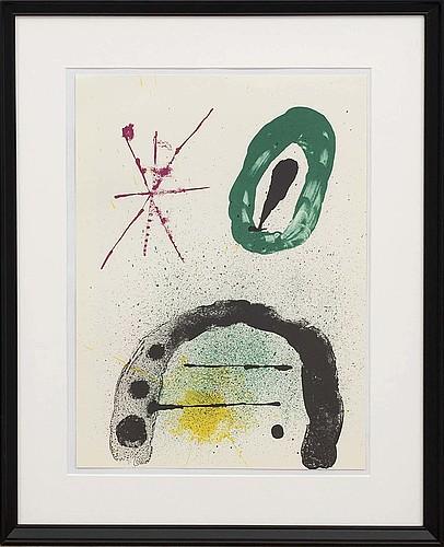 Joan mirÓ, colour lithographe, unsigned, from derrière le miroir nr 139 140 1963