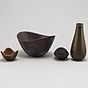 Gunnar nylund, three glazed bowls and a glazed vase, from rörstrand