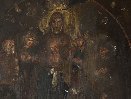 Icon, tempera on wood panel, with silver riza, contr. yakov lyapunov, st petersburg russia 1898 1903, assayer mark ac