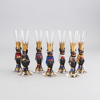 GUNNAR CYRÉN, a set of 7 snaps glass for the Nobel service.