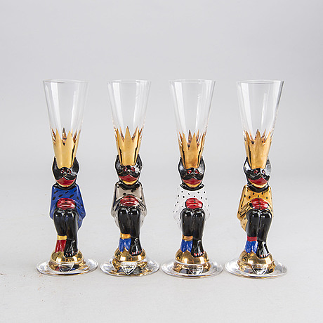 Gunnar cyrÉn, a set of 7 snaps glass for the nobel service