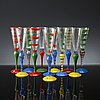 Anne nilsson, twelve 'clown' champagne glasses from orrefors, all signed