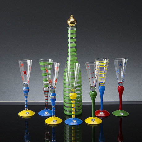 Anne nilsson, a set of seven snaps glasses and decanter, all signed