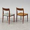 "Yngve ekstrÖm, six swedish teak mid 20th century dining chairs ""kontiki"""