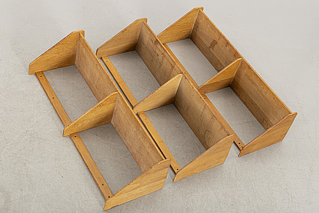 Hans j wegner för ry möbler, danmark. vägghyllor, ek, 3 st