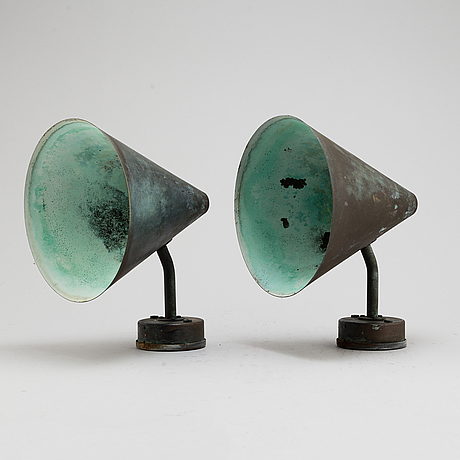 Hans agne jakobsson, a pair of 'tratten' wall lamps, from markaryd, second half of the 20th century