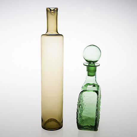 Nanny still, bottle and decanter, glass, riihimäen lasi, late 20th century