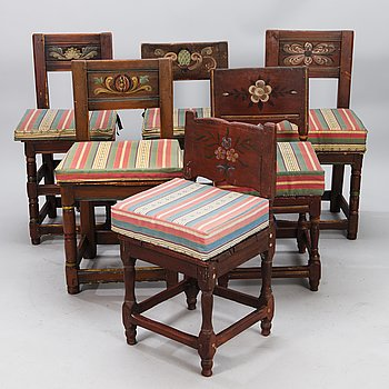 Six 18th/19th Century painted chairs.