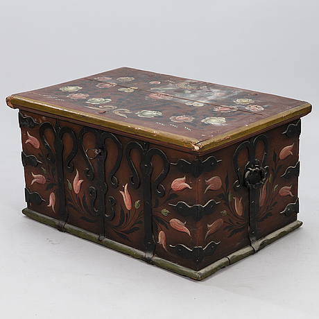 A swedish 19th century painted wooden chest