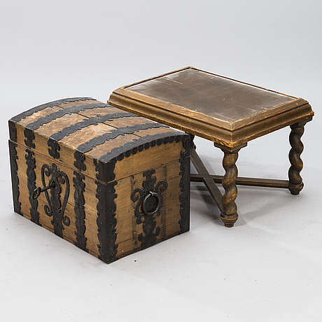 A oak baroque chest on a later leg frame