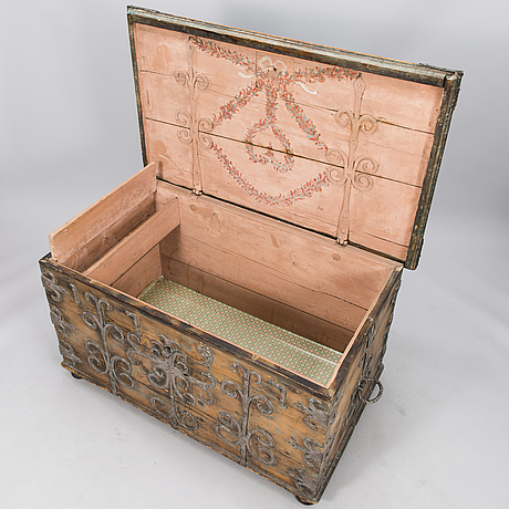 An 18th century wooden chest