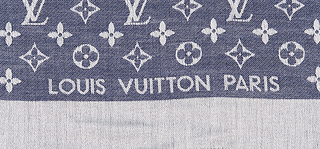 Louis vuitton blue and white monogram silk and wool shawl