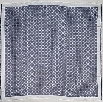 LOUIS VUITTON BLUE AND WHITE MONOGRAM SILK AND WOOL SHAWL.
