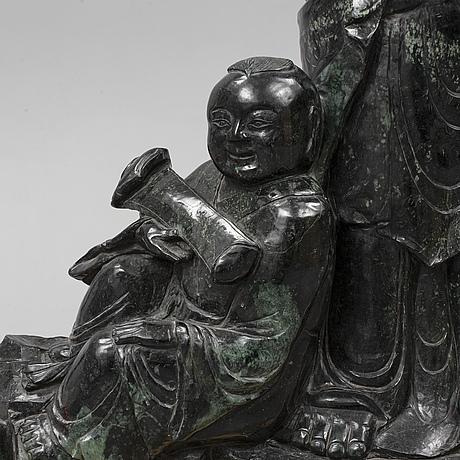 Skulptur, grön sten, kina, modern tillverkning