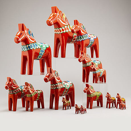 15 swedish wooden 'dala' horses, late 20th century