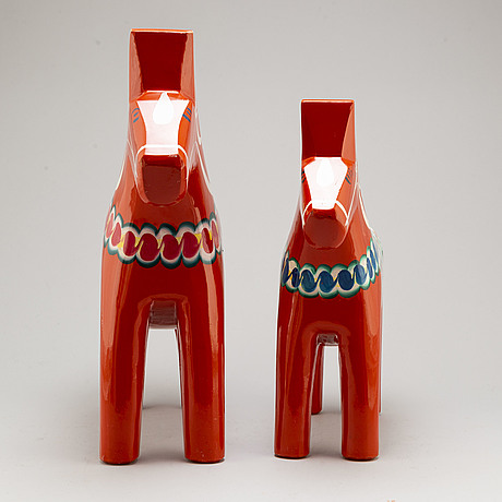Two painted 'dala' horses, alte 20th century