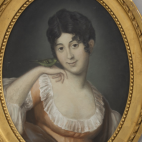 Portrait of a young lady with a bird, 19th century first part, unknown artist