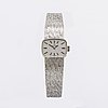 Omega, ladies wristwatch, 18k whitegold, 16 x 12 mm, manual, approx 39 g in total.