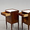 A pair of bedside tables, first half of the 20th century