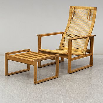 "BØRGE MOGENSEN, easy chair and ottoman, ""Highback Easy Chair""/""Släden"", model 2254, Fredericia Stolefabrik, Denmark."